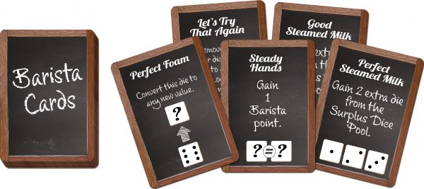 dice manipulation cards for latte throwdown game